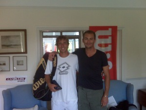 2009 French Open Doubles Champ Dino Marcan stopped by the Wimby house. Nice Eco Pro Tour bag!