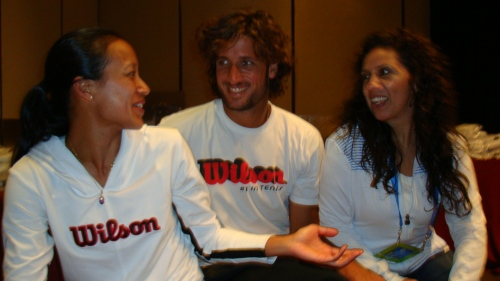 Anne Keothavong, Feliciano Lopez & Claire Ortiz having fun at the suite