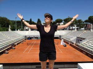 Most beautiful tennis court. Check out the statues surrounding the court & marble seating