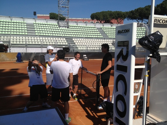 Feliciano Lopez & Milos Raonic have fun before their practice