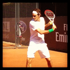 Roger Federer prepares with his Wilson Pro Staff tennis racket