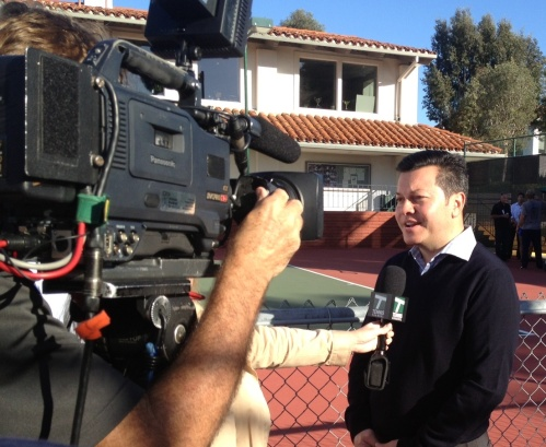 Wilson General Manager Jon Muir doing an interview with Tennis Channel in San Diego
