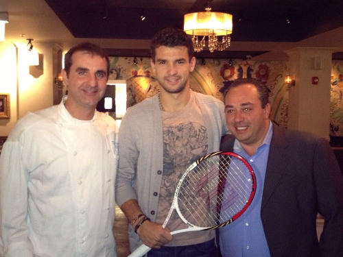 Grigor Dimitrov with Tony Priolo and Ciro Longobardo of Piccolo Sogno